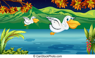 Two flying animals at the river - Illustration of two flying...