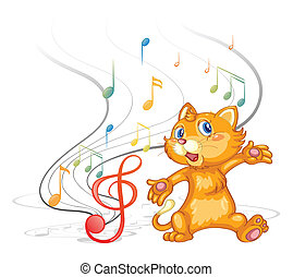A dancing cat with musical symbols - Illustration of a...