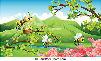 A view of the mountain with flowers and bees - Illustration...
