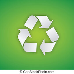Recycling symbol illustration on a green background