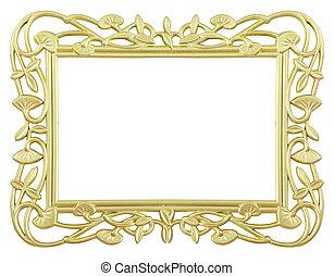 flower gold frame - antique flower gold frame isolated on...