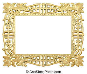flower gold frame - antique flower gold frame isolated on...