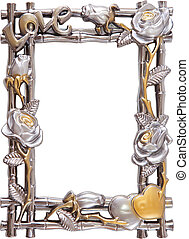 flower silver and gold frame - antique flower silver and...