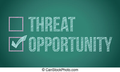opportunity vs threat illustration design on a blackboard