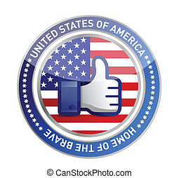 like hand USA button over white background