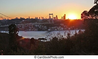 FSM Bridge - sunset at Fatih Sultan Mehmet Bridge, time...