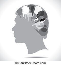 message bubble in people head stock vector