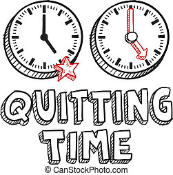 Quitting time sketch - Doodle style quitting time...