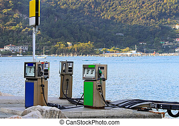 Marine fuel station for boats at Mediterranean sea