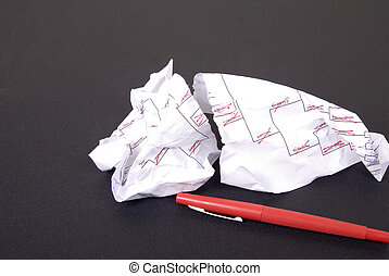 March Madness Torn Bracket and Red Pen - A losing March...