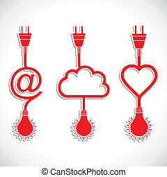 creative icon design of heart and c