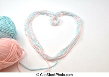 Heart made of woolen yarn - This is a picture of a heart...