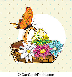 Butterfly Icons - Basket of flowers with orange butterfly...
