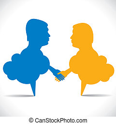 people like message bubble hand shake stock vector