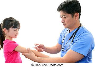 niña, ser, vacunado