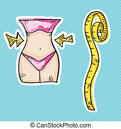 "Fitness Icons (waist, ""Loose weight"" concept with tape..."