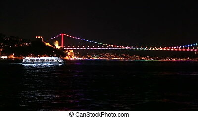 FSM Bridge - passenger ship with Fatih Sultan Mehmet Bridge