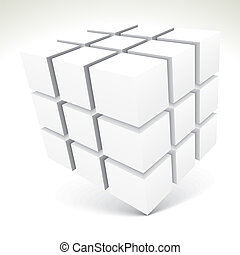 3D white cubes - vector illustration