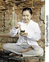 traditionally, budista, utilizado, tazón, mujer, culturas,...