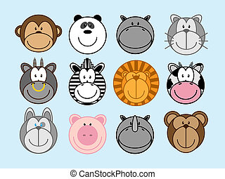 Animals set - Set of funny cartoon animals, monkey, panda,...