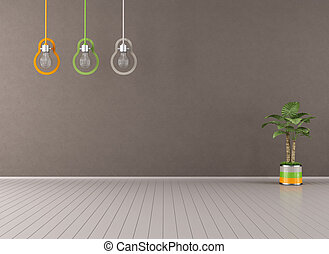 Empty brown living room with colorful lamp and plant -...