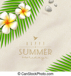 Summer holidays vector design - frangipani tropical flowers...