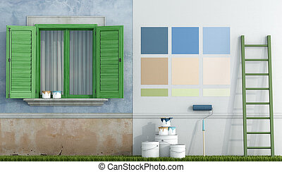 Painting of an old house - select color swatch to paint wall...