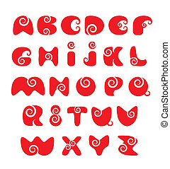 ABC - english alphabet - red funny spiral cartoon letters