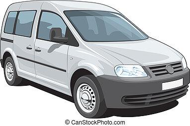 Minivan - Vector isolated minivan cargo and passenger on...