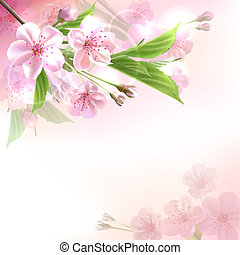 Blossoming tree branch with pink flowers on bokeh...