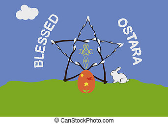 Ostara greeting card - Famous wiccan sabbath Ostara, or...