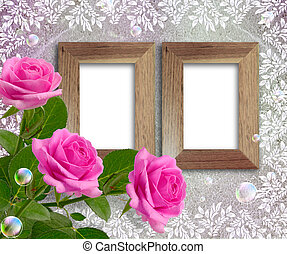 Roses and wooden frame - Old grunge background with roses...