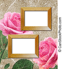 Pink roses and wooden photo frame - Old grunge background...