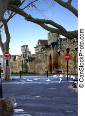 road junction - a road junction in the old city with a wall