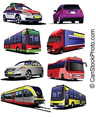Collection of municipal transport images. Vector...