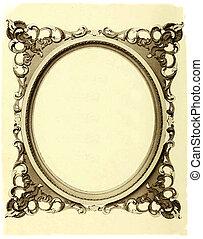Oval frame on Old Paper