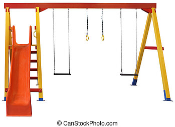 Swings and red slide isolated on white background