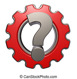 gear question - gear wheel and question mark on white...