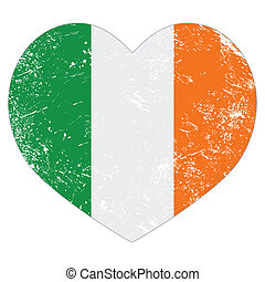Ireland heart retro flag St Patrick - Irish heart shaped...