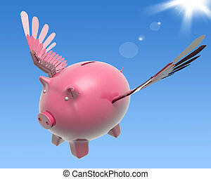 voando, piggy, mostra, alto, prosperidade, e, investimento