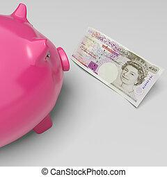 Twenty Pound Note Piggy Shows UK Money