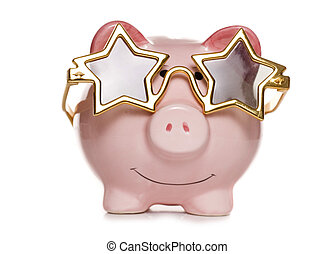 seeing stars piggy bank - piggy bank with star sun glasses...