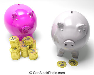 Two Piggybanks Savings Showing European Wealth