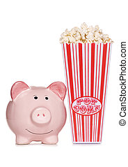 movie night in to ave money - piggy bank with retro popcorn...