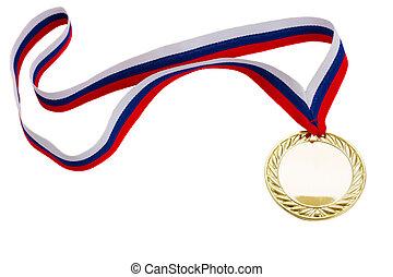 golde? medal - one golde? medal isolated on white background