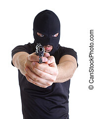 Robber with masked - Man in a mask with a gun on a white...