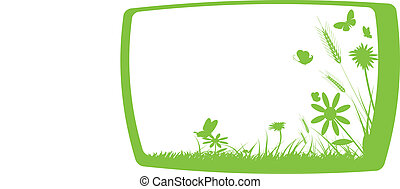 green grass on frame - vector illustration of green grass on...