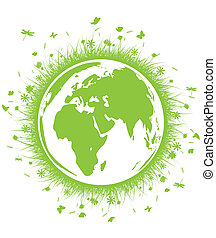 globe green grass - vector illustration of globe green grass...