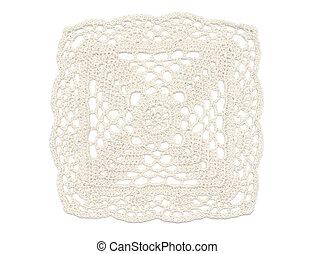 Crochet Doily - White - Square of crochet doily in light...