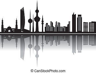 kuwait skyline in black grey and white